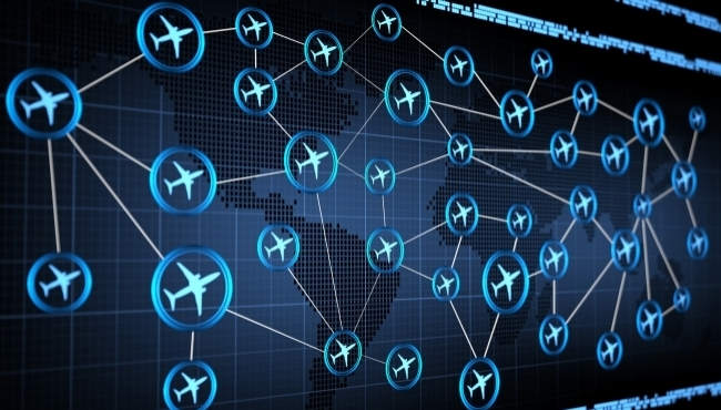 Flights circled on a world map