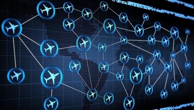 Flights circled on a world map