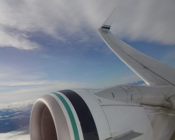 A commercial aircraft flying in the sky, zoomed in on the engine and the wing.