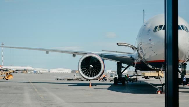 Narrowbody Aircraft in an Airport