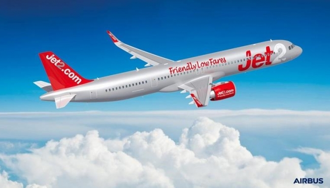 A digital render of an Airbus A321 NEO aircraft in Jet2 livery