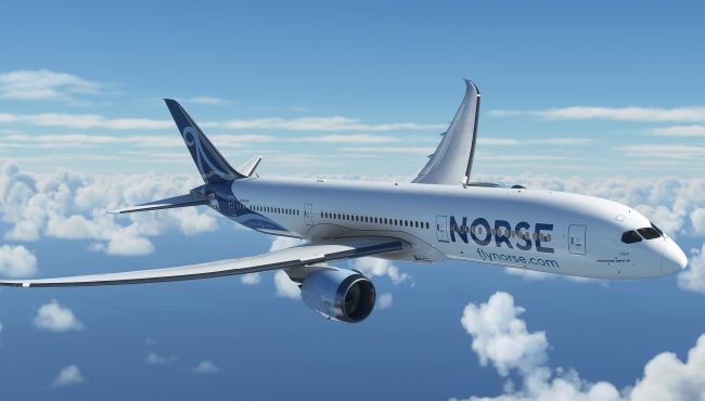 A digital rendering of a Boeing 787-9 Dreamliner in the livery of Norse Atlantic Airways