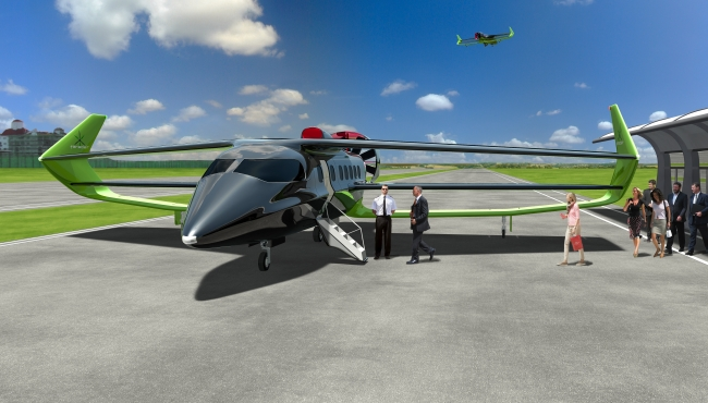 A digital rendering of a Faradair BEHA electric aircraft taking on passengers on the ground at an airfield