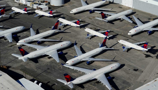 Rows of grounded aircraft