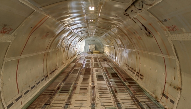 An interior view of a cargo aircraft
